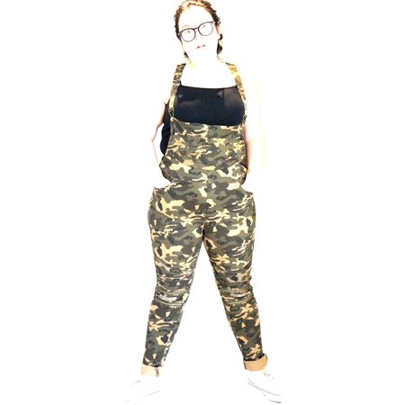 Women's Plus Size Camouflage/ BLUE/BLACK Overalls Distressed Jeans Stretch Curvy