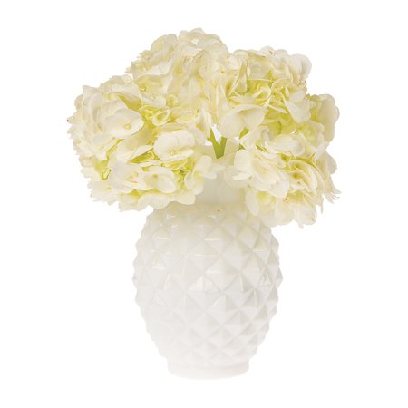Vintage Milk Glass Vase (6-Inch, Willa Ruffled Pineapple Design, White) - Decorative Flower Vase - For Home Decor and Wedding (Porcelain Flower Vase)