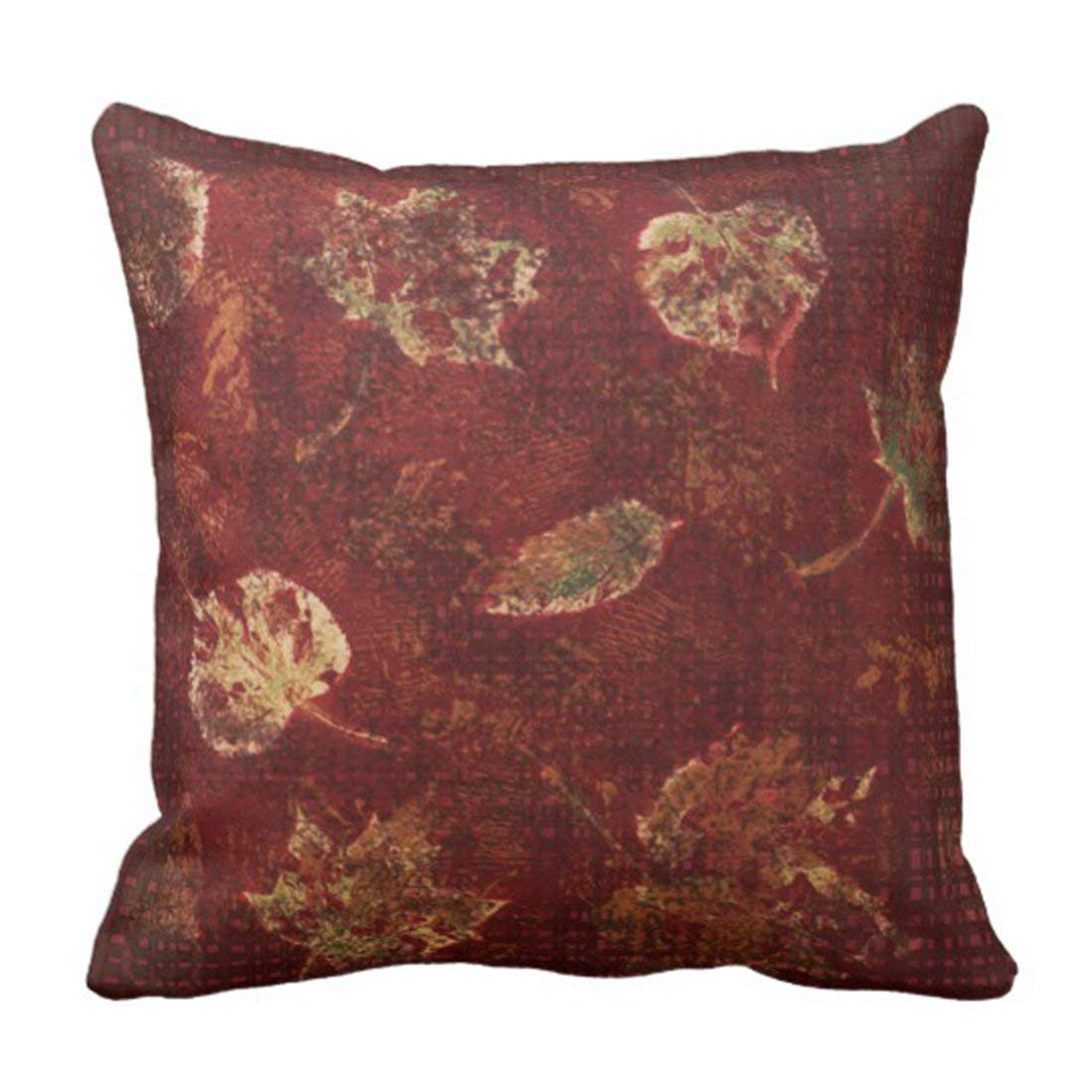 BPBOP Green Burgundy Deep Gold Fall Leaves Stencil Earthy Tartan Yellow From Pillowcase Cover 18x18 inch