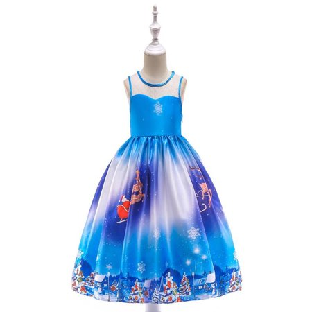 Toddler Kids Baby Girls Santa Print Princess Dress Christmas Outfits Clothes - Children Christmas Clothing