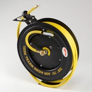 "3/8"" X 75 Foot Retractable Rubber Air Hose Metal Reel Rewind Compressor"