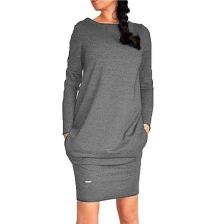 Womens Winter Sweatshirt Dress Ladies Hoodie Pullover Jumper Top Package Hip Skirt Pockets Sweater Long Sleeved Dress