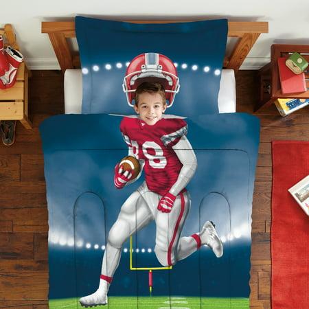 Big Boy Bedding - Dream Big Football Player Twin Full Mini Comforter & Sham Set, 1 Each