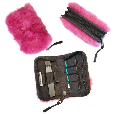 Carrying Case Holder Wallet for JUUL - Fits JUUL, Pods & Charger (Fuzzy  Pink)