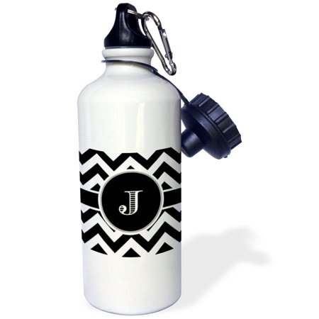 3dRose Black and white chevron monogram initial J, Sports Water Bottle, 21oz - Monogrammed Water Bottle