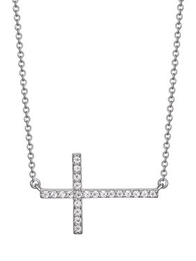 "Cubic Zirconia Sideways Cross Necklace in Sterling Silver, 16"" + 2"""