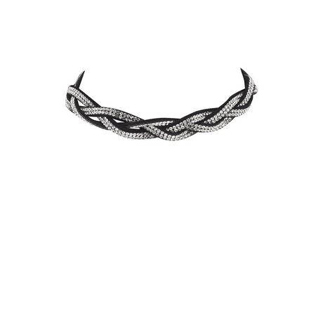Braided Choker Necklace - Lux Accessories Black Crystal Rhinestone Sticker Stone Braided Choker Necklace