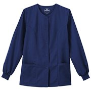 F3 Fundamentals By White Swan Women's Snap Front Warm Up Solid Scrub Jacket X-Large New Navy