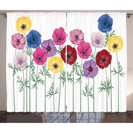 Anemone Flower Curtains 2 Panels Set, Group of Graphic Colorful Flowers on Branches Blooming Field in Summer Theme, Window Drapes for Living Room Bedroom, 108W X 63L Inches, Multicolor, by Ambesonne