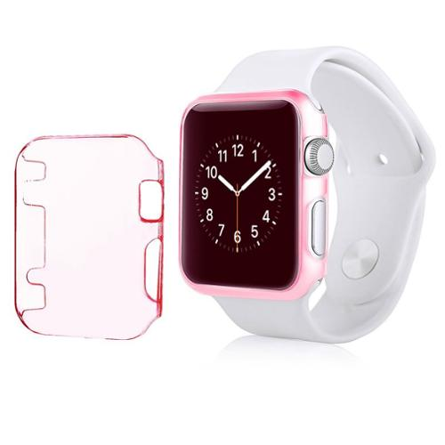 Insten For Apple Watch iWatch 38mm Clip-on Hard Protective Crystal Case Clear Pink