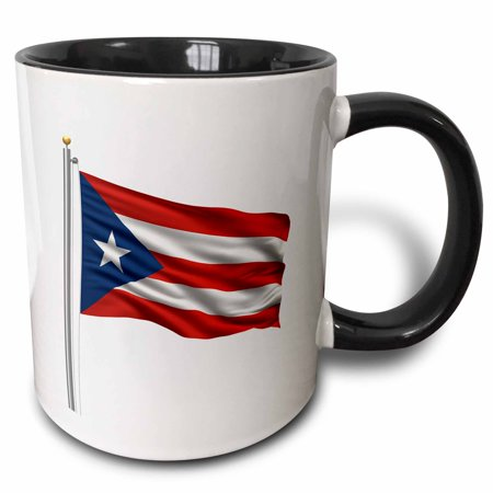 3dRose Flag of Puerto Rico on a flag pole over white Rican, Two Tone Black Mug,