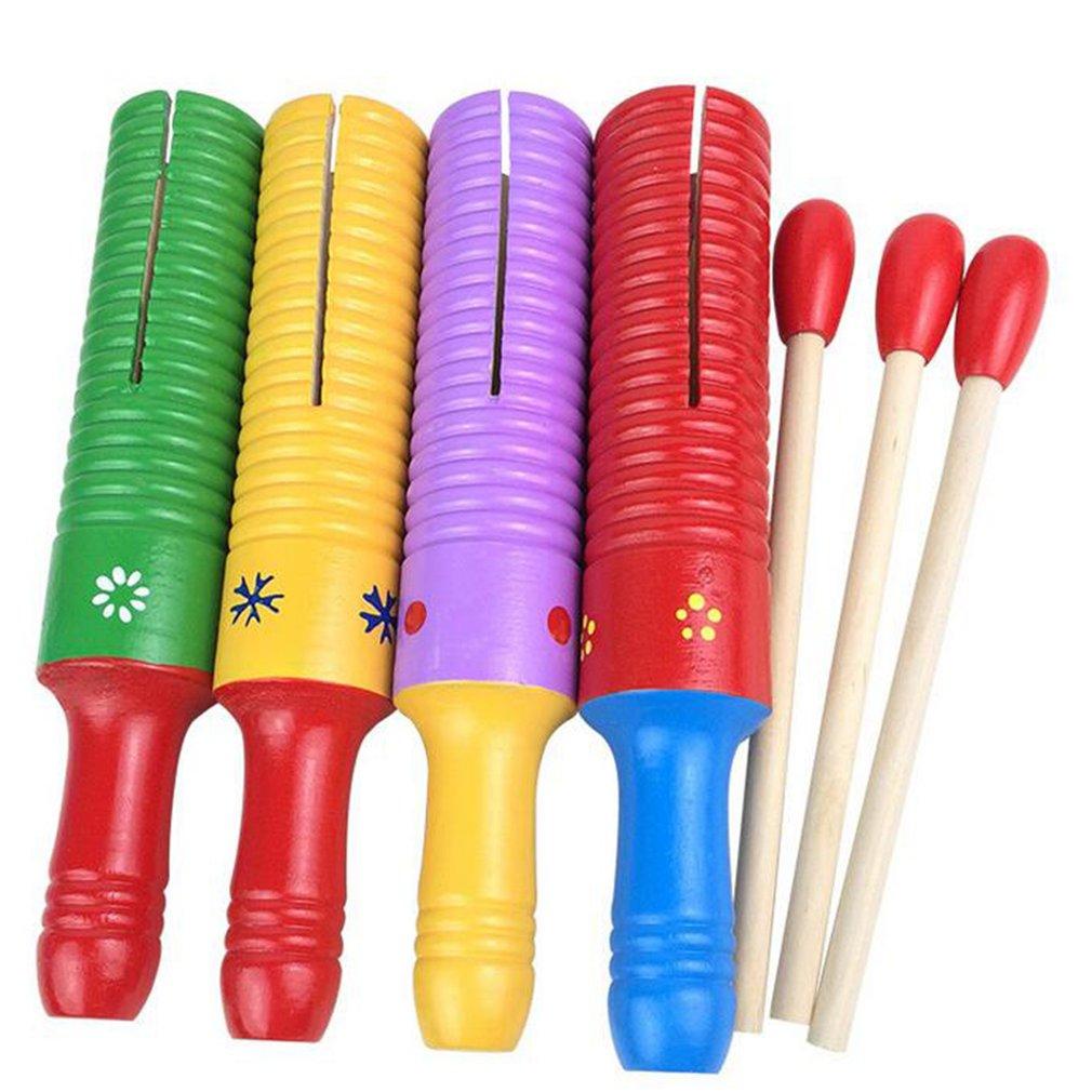 Wooden Guiro Thread Small Single Ring Sound Drum Percussion Instrument Random
