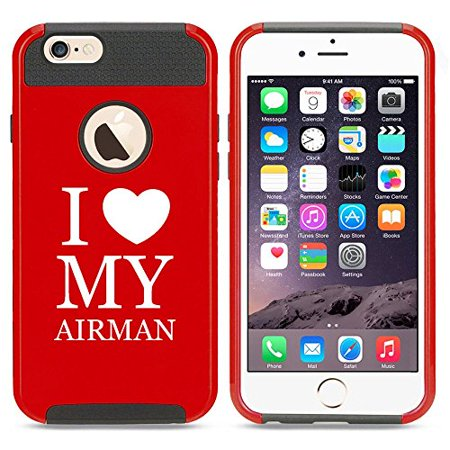 Apple iPhone 5c Shockproof Impact Hard Case Cover I Heart Love My Airman Air Force (Red),MIP