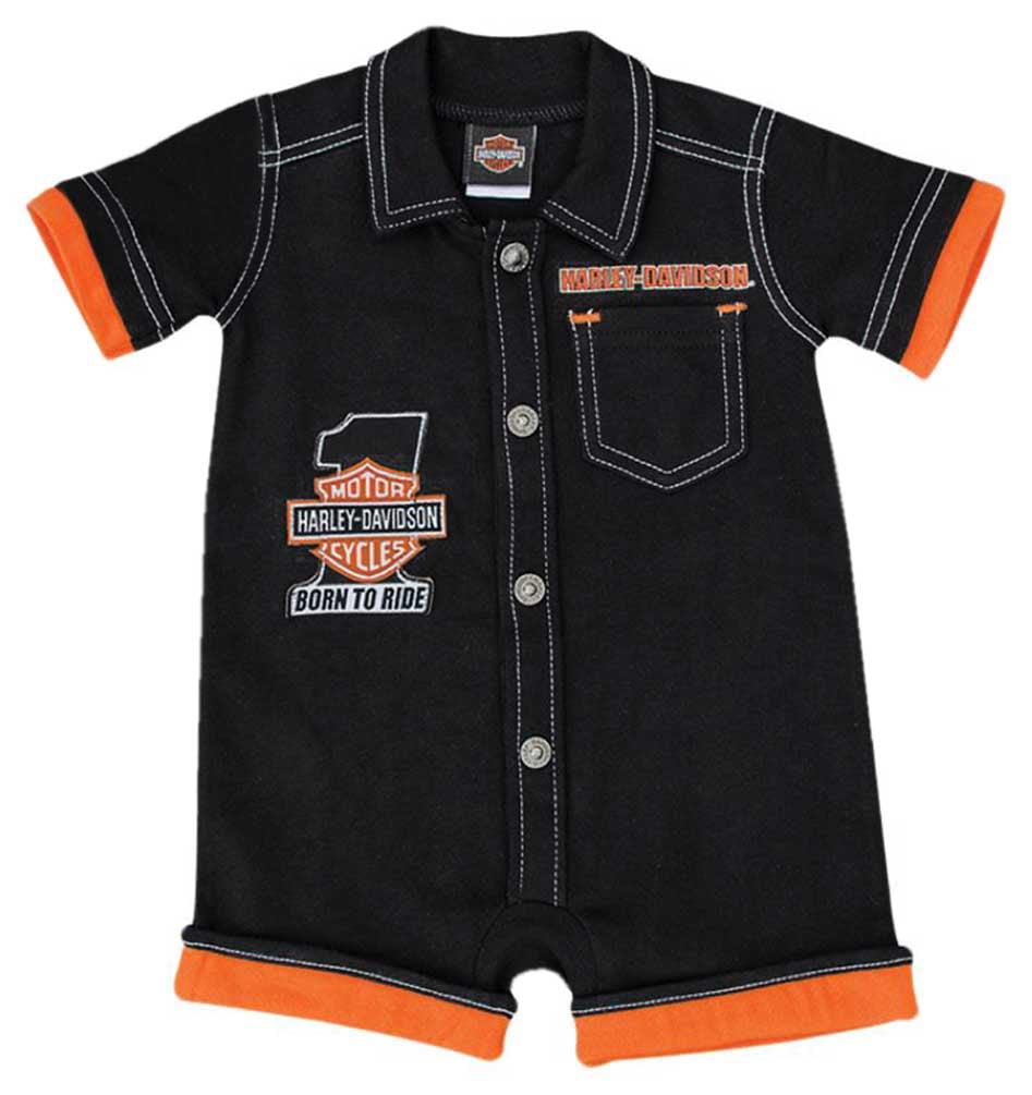 Harley Davidson Logo Infant Short Sleeve Bodysuit Jumpsuit
