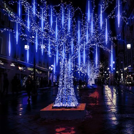 30pcs Thanksgiving Ornament Rain Drop Lights, Meteor Lights 8 Tubes LED Falling Rain Cascading Icicle Light for Wedding Festival Hotel Garden Road Tree Decoration Romantic 11.8 Inches (blue) - Fall Festival Decorations