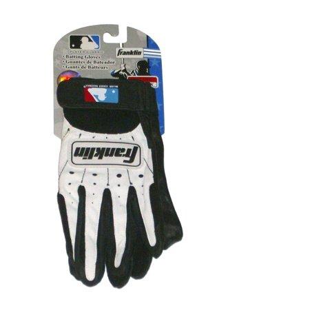 Franklin Batting Gloves White & Black Adult Small Baseball Batters Glove (Black Leather Baseball)