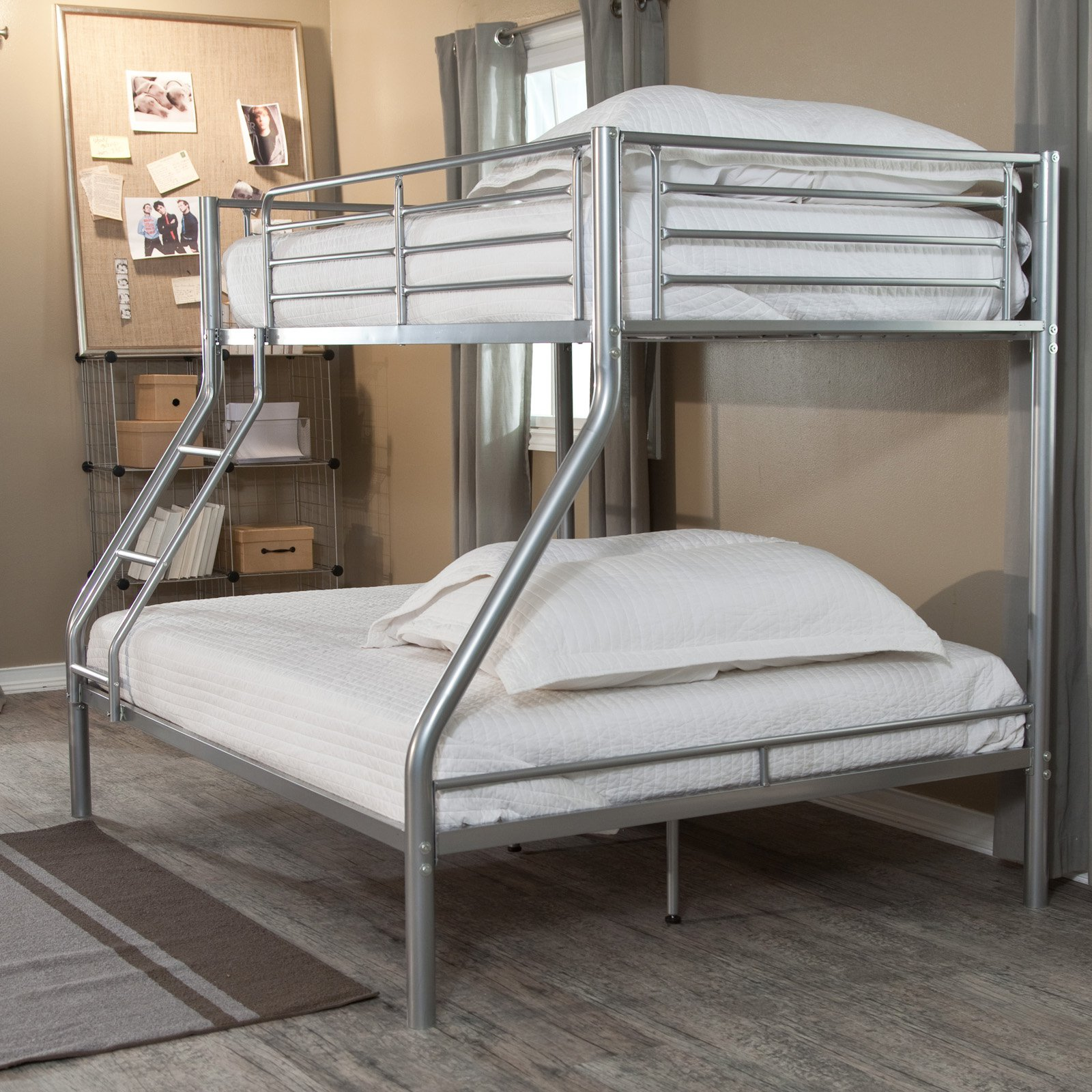 Duro Wesley Twin Over Full Bunk Bed Silver Walmart Com