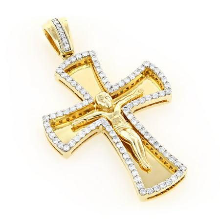 Unisex 14K Round Natural 1.2 Ctw Diamond Cross Necklace (Yellow Gold)