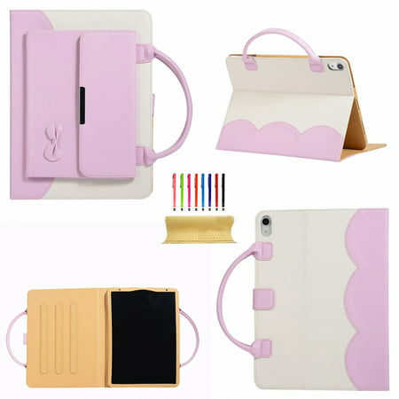 iPad 10.2 inch 2019 Handbag Case 7th Generation, Dteck Smart Multi-Angle Stand Magnetic PU Leather Bag Folio Cover with Handle Document Pocket Hand Strap Pencil [Auto Wake/Sleep], Pink