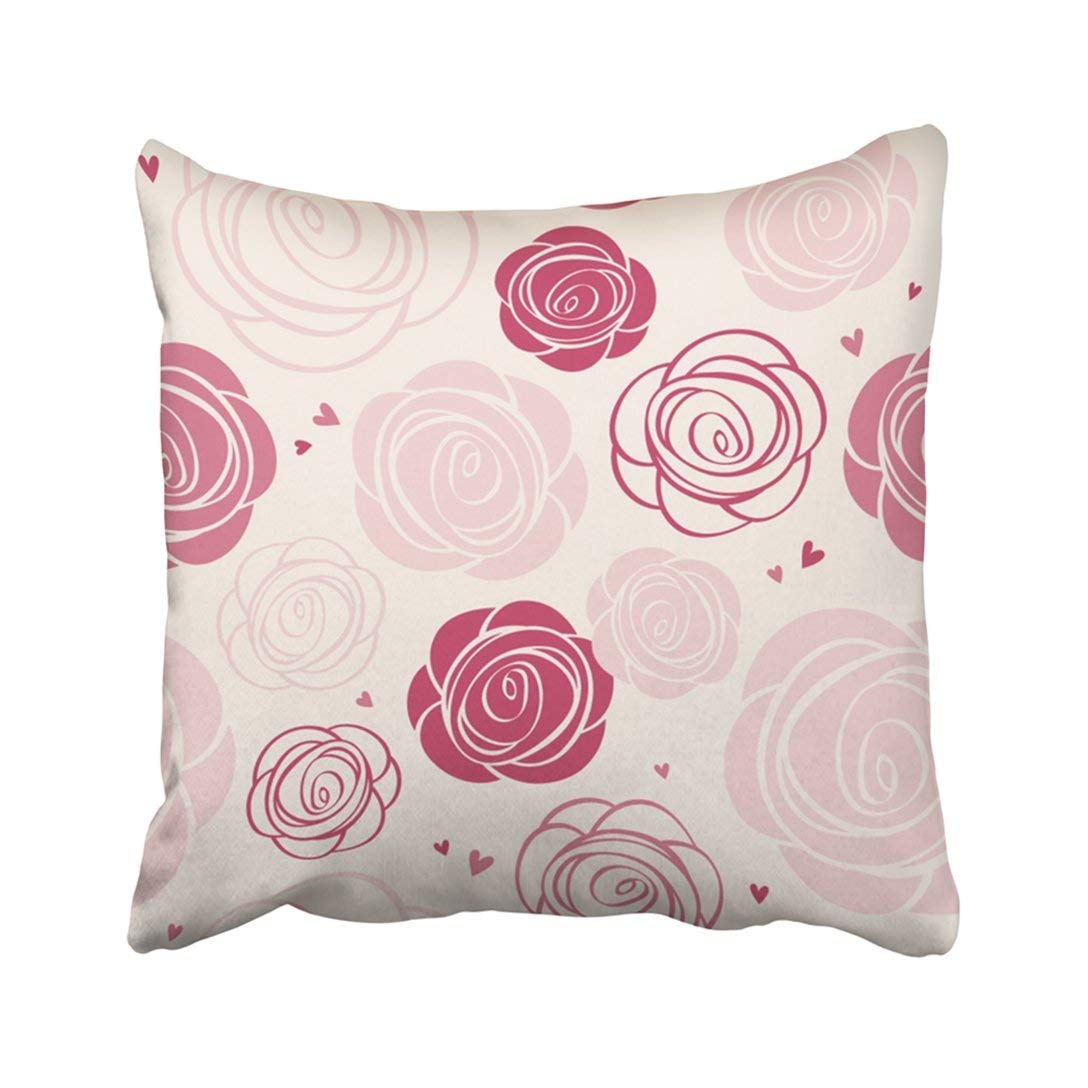 BPBOP Pink Flower Roses Pattern Abstract Floral Wedding Garden Cute Pretty Vintage Pillowcase 16x16 inch