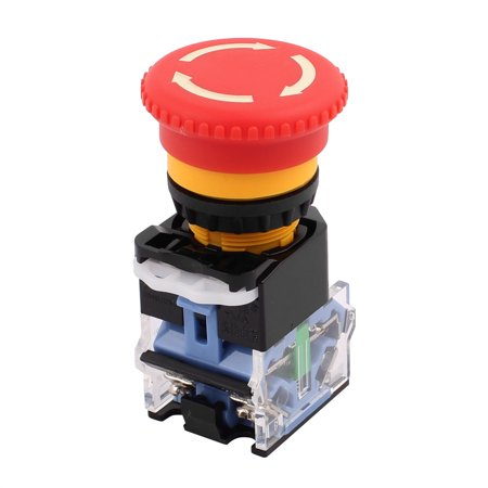 Ui 440 V Ith 10 A Red Mushroom Head Momentary DPST 1NO+1NC Pushbutton Switch