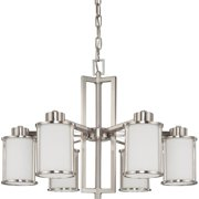 """Nuvo Lighting 63806 - 6 Light (Twist  and  Lock Base) 28"""" Odeon Brushed Nickel Finish with White Satin Glass Chandelier Light Fixture (60-3806)"""