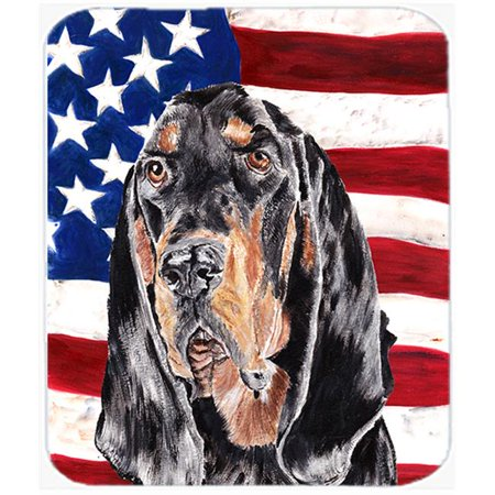 7.75 x 9.25 In. Coonhound Black and Tan USA American Flag Mouse Pad, Hot Pad or