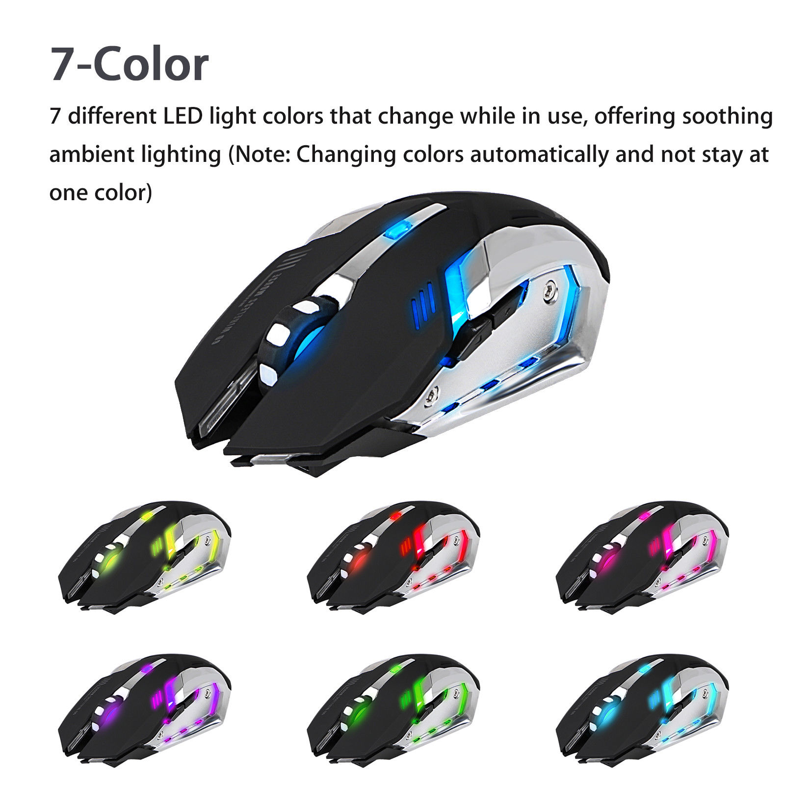 2.4GHz Rechargeable 7 LED Backlit Wireless USB Optical Gaming Mouse Mice