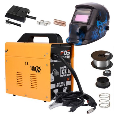 Zimtown Flux Core Wire Automatic Welder & Solar Welding Helmet Combo, Include Electric Gas-Less Mig 130 Welding Machine & Auto Darkening Welding Hood for Welding Stainless Steel, Mild Steel &