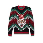 Blizzard Bay Men's Ugly Christmas Sweater Cat,, Grey/Black, Size Small