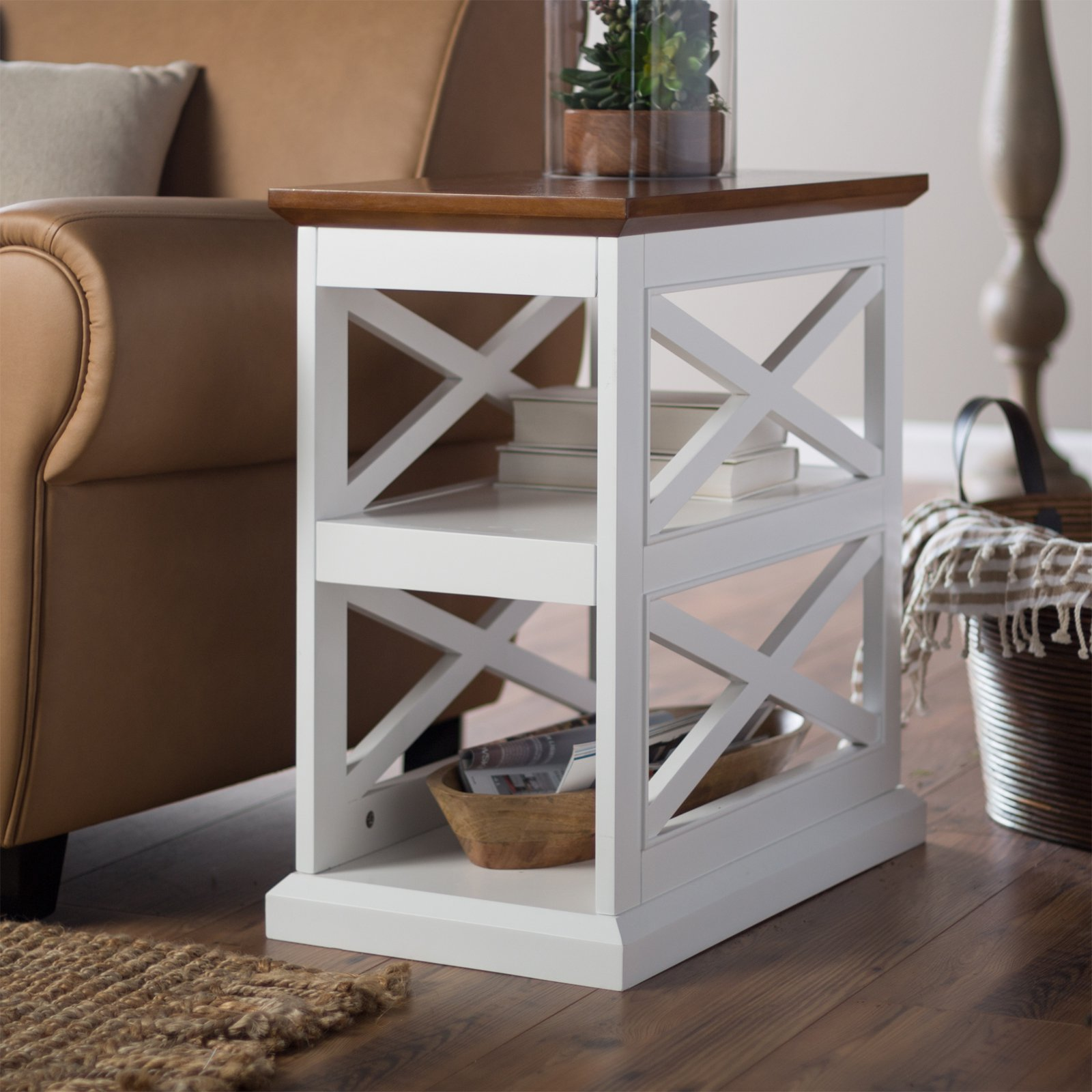 Belham Living Hampton Chair Side Table - White/Oak