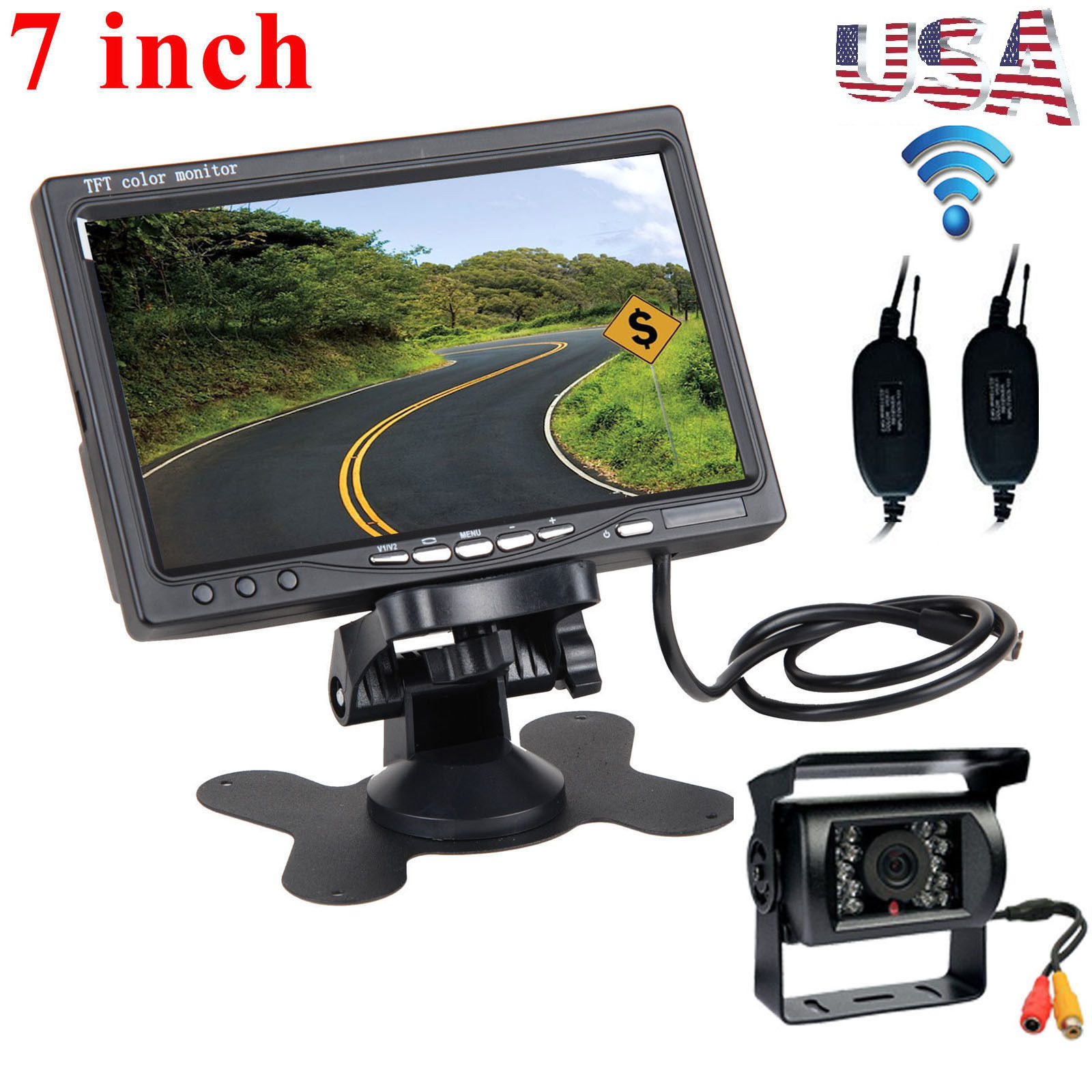 """Wireless IR Rear View Backup Camera Night Vision System For RV Truck 7/"""" Monitor"""