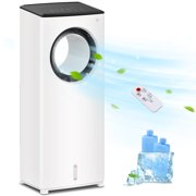 """LifePlus Portable Evaporative Air Cooler 3 in 1 Tower Cooling Fan with Remote Control Personal Water AC Swamp Cooler Air Conditioners for Small Room Home Office 25"""" White, 2 Ice Packs"""