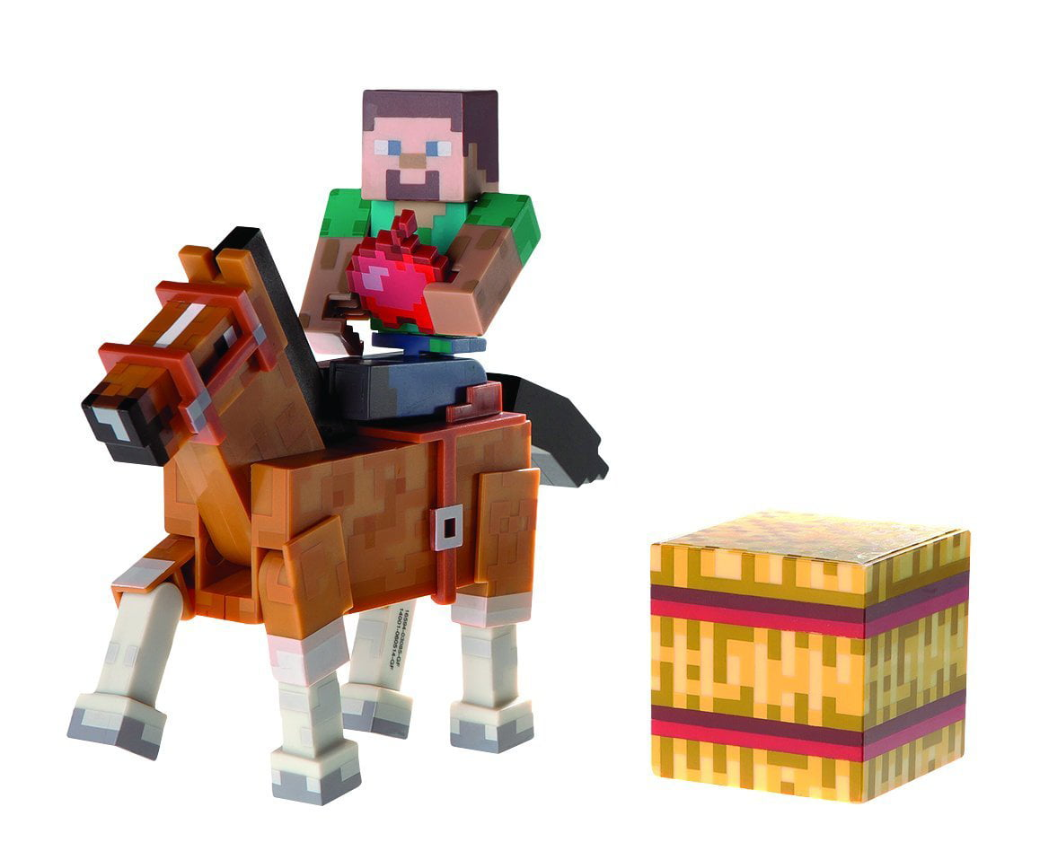 "Minecraft 3"" Action Figure 2-Pack Steve with Brown Horse by Jazwares, Inc."