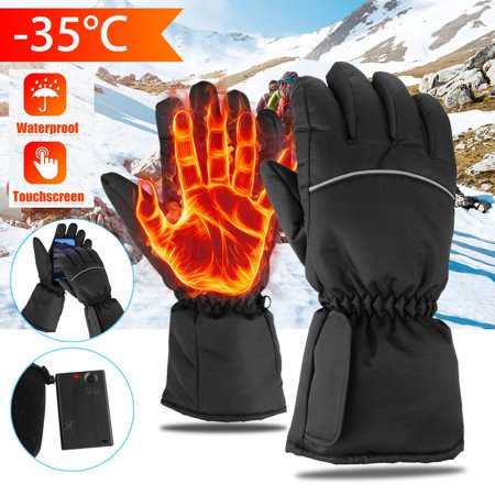 Electric Heated Gloves Touchscreen with Rechargeable Batteries Heating Gloves Waterproof Motorcycle Thermal Gloves -35℃ Cold Proof  for Skiing Walking Hiking Climbing Driving Cold Weather Warmer