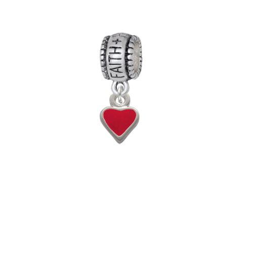 Mini 2-D Red Heart - Faith Hope Love Charm Bead