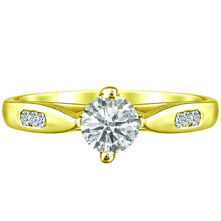 Round Natural Diamond Solitaire 4 Prong Engagement Ring Solid 10k Yellow Gold