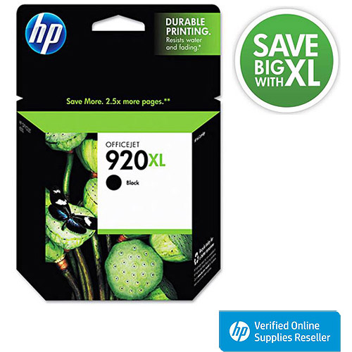 HP 920XL High-Yield Black Original Ink Cartridge in Retail Packaging, CD975AN