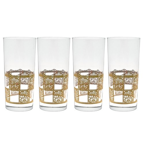 Set of 4 Culver Safari Friends Gold 22k Highball Glasses