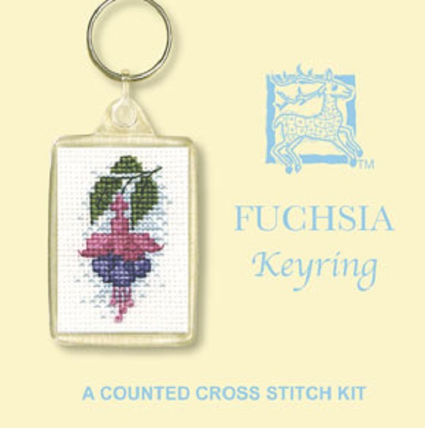 Textile Heritage Keyring Counted Cross Stitch Kit - Fuchsia