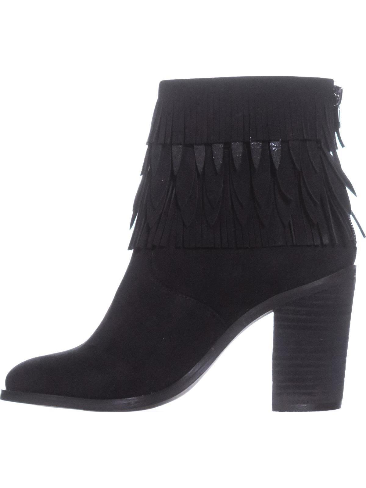 Womens Yellow Box Sunny Fringe Ankle Boots, Black, 7 US