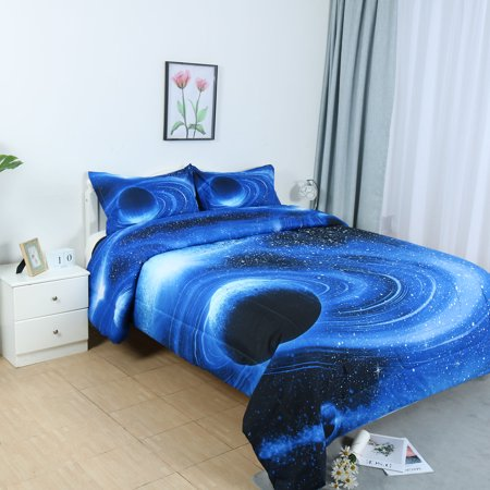 Full/Queen 3pcs Blue Planet Pattern Comforter Set All-season Quilted Duvet