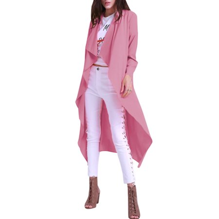 Womens Long Sleeve Waterfall Belted Duster Maxi Coat - Belted Long Sleeve Cardigan