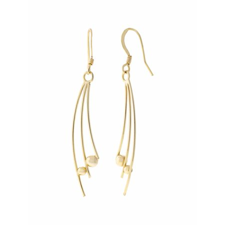 "18kt Gold over Sterling Silver Spray with Bead 2-1/4"" Earwire Earrings"