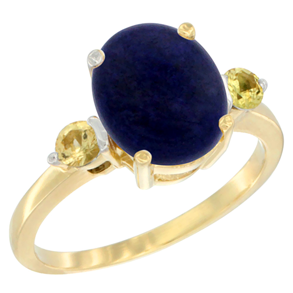 14K Yellow Gold Natural Lapis Ring Oval 10x8mm Yellow Sapphire Accent, sizes 5 10 by WorldJewels