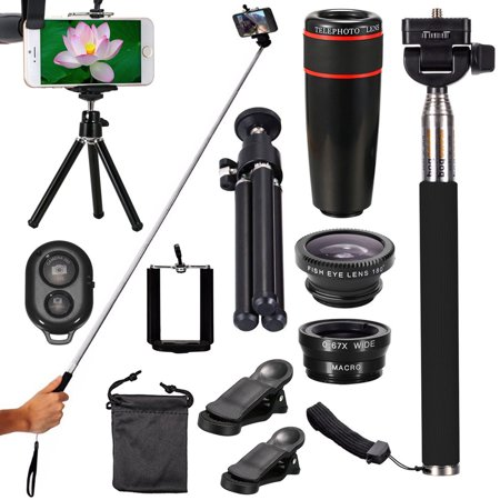 All-IN-1 Portable Phone Camera Lens Travel Kit, 8X/12X Telescope+Fisheye+Wide Angle+Macro Telephoto Lens with Mini Tripod & Selfie Stick Monopod for Vlogging ()