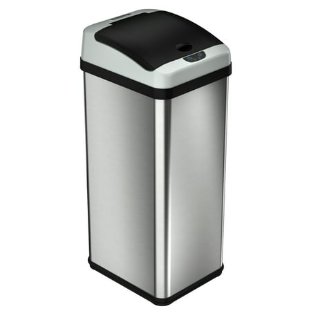Itouchless 13 Gallon Rectangular Extra Wide Automatic Sensor Trash Can  Stainless Steel