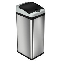 iTouchless 13 Gallon Rectangular Extra-Wide Automatic Sensor Trash Can, Stainless Steel