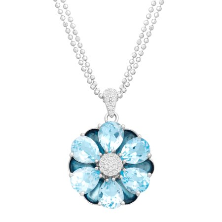 13 ct Natural Swiss Blue Topaz Flower Medallion Pendant Necklace in Sterling Silver