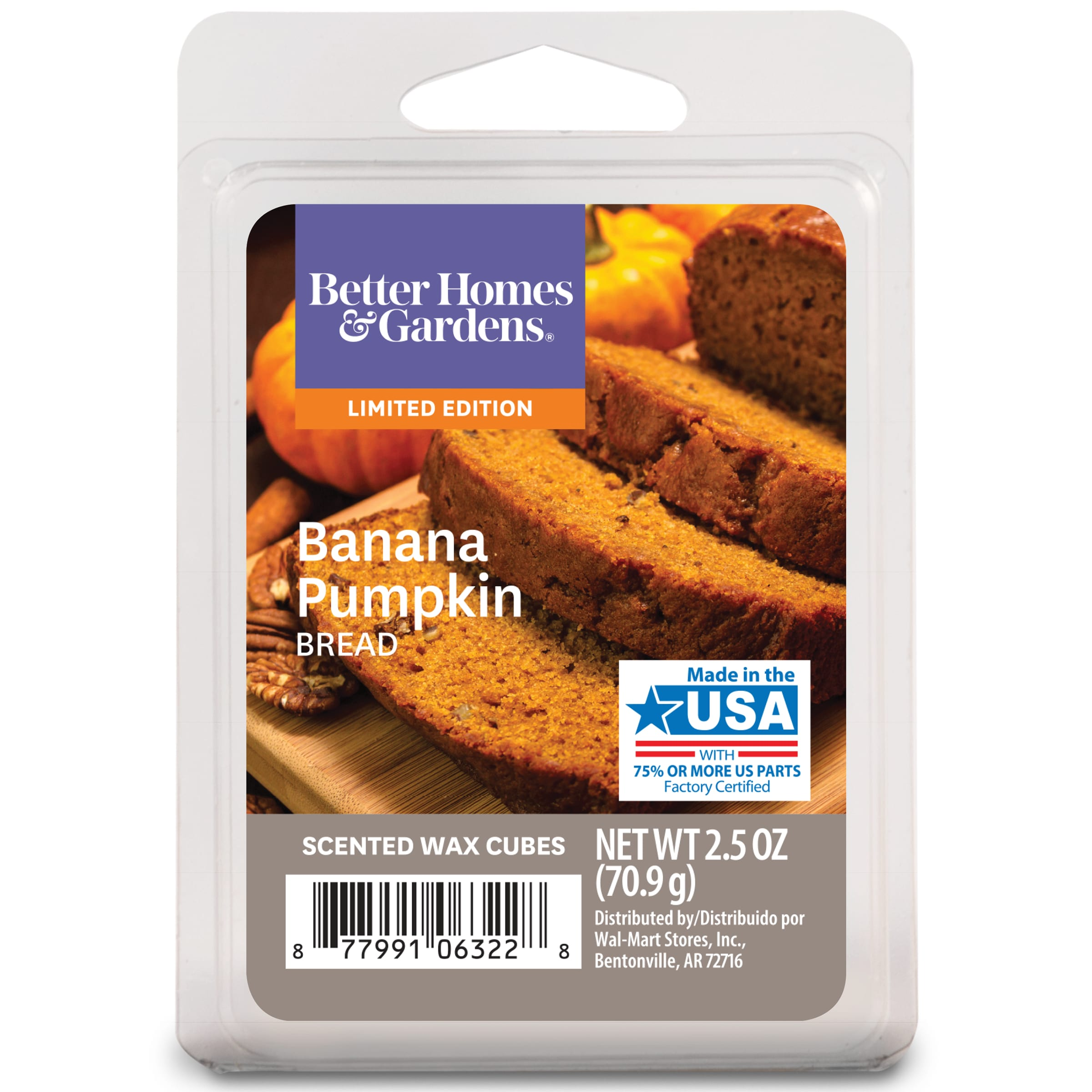 Better Homes & Gardens 2.5 oz Banana Pumpkin Bread Wax Scented Wax Melts